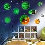 9 Planeten Sonnensystem Wandsticker, Leuchtsticker Sonne Erde Fluoreszierend Wandaufkleber Hausdekoration Wandtattoo Wanddekoration für Kinderzimmer Kindergarten Baby Schlafzimmer Wohnzimmer