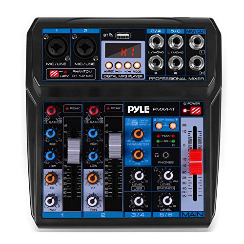 Professional Wireless DJ Audio Mixer  6Channel Bluetooth Compatible DJ Controller Sound Mixer w/DSP Effects USB Audio Interface Dual RCA in XLR/1/4 Microphone in Headphone Jack  Pyle PMX44T