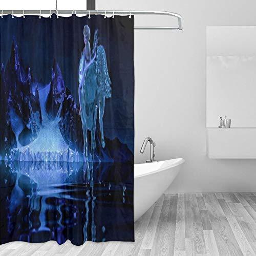 Die Eiskönigin Elsa Duschvorhang-Set mit 12 Haken, Aquarell, dekorativer Badvorhang, modernes Badezimmer-Zubehör, maschinenwaschbar (167,6 x 182,9 cm)