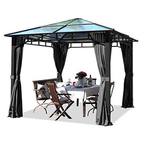 TOOLPORT Gartenpavillon 3x3m wasserdicht ALU Deluxe Polycarbonat Dach ca. 8mm Pavillon 4 Seitenteile Partyzelt grau 9x9cm Profil