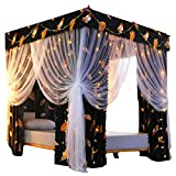 Princess 4 Corner Post Bed Curtain Canopy Bedroom Decoration for Adults Girls Mosquito Net Blackout Cloth Curtain (Including Frame, Twin 1.2 2m(4pcs))