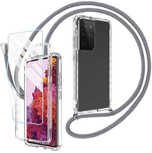 Mkej Collier Étui de Protection 360° pour Samsung Galaxy S30 Ultra/ S21 Ultra Coque avec [2 pièces] Protection écran [Film Flexible] Chaîne de téléphone avec Cordon Housse Airbag La Mode Necklace