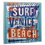KOSALAER Duschvorhang,Buchstaben Surf Venice Beach,Vorhang Waschbar Langhaltig Hochwertig Bad Vorhang Polyester Stoff Wasserdichtes Design,mit Haken 180x180cm