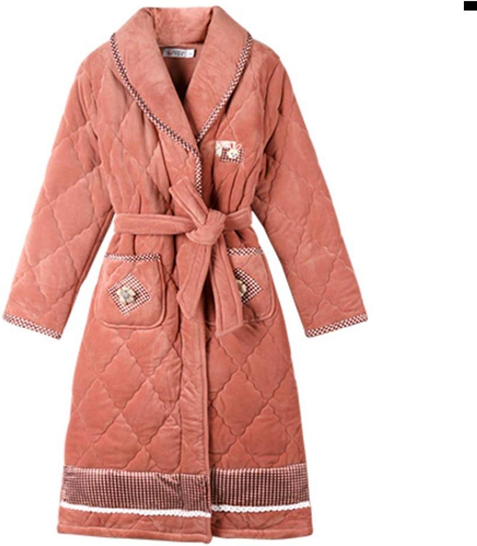 NAN Liang ThreeLayer Thickening Nightgown Female Winter Cotton Long Pajamas Winter Warm Bathrobe Bathrobe Soft (Size   XXXL)