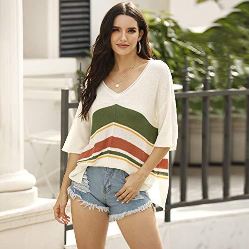 Avsvcb Otoño Nuevo suéter de Punto Suéter con Hombros Descubiertos a Rayas Europeas y Americanas con Bloqueo de Color para Mujer Casual de Manga Corta con Cuello en V Top de Playa