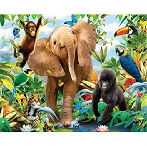 5D DIY Pintura Diamante por Número Kit Elefante orangután para Adultos y Niños Taladro Completo Cristal Rhinestone Lienzo Diamond Painting Bordado Punto de Cruz Arte Craft Decoración Hogar 30x40cm