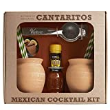 Cantaritos de Barro Cocktail Kit by Verve CULTURE | Traditional Mexican Clay Cups | Artisanal Cups for Cold or Hot Drinks | Set of 2 Cups, Hand Juicer, Chili Salt & Straws