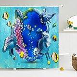 N/X Cortina de ducha Cortina de baño Ocean Ducha Cortinas 180 x 180 cm Impermeable Cuarto de baño Hogar Lavable, 12 Ganchos 180 x 200 cm 3820 G