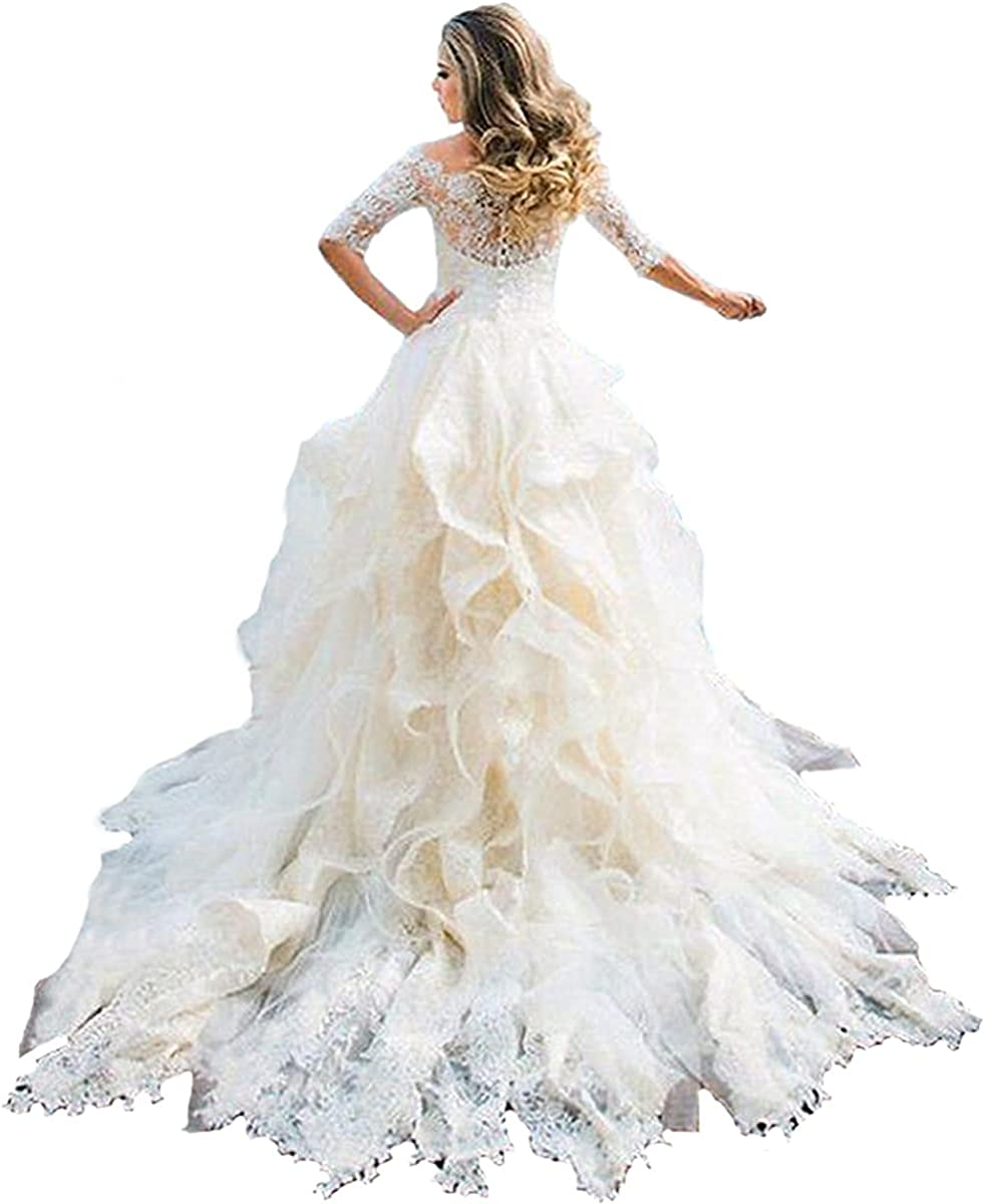 Elliebridal Boat Neck Women's Bridal Ball Gown 3/4 Sleeves Mermaid Lace Wedding Dresses with Ruffles Train for Bride