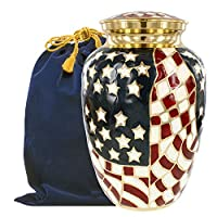 Patriotic Large Adult Urn for Human Ashes - for Veterans First Responders and Patriots That Loved America - Find Comfort and Pride Each Time You See This Red White and Blue Urn - w Velvet Bag