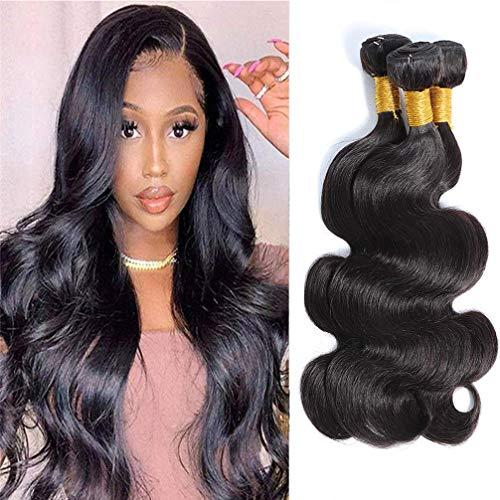 Brazilian Virgin Body Wave Bundles 14 16 18, Unprocessed Body Wave Human Hair 3 Bundles Virgin Hair Body Wave Bundles (300g) Natural Color (14 16 18)