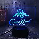 Lámpara De Noche 3D Lámpara De Mesa Con Luces Led, Logotipo De Crown Royal Whisky Whisky Wine Table Desk Lamp Home Room Office Decor Year Xm Christm Gift Cartoon 7 Color Optical Light Children