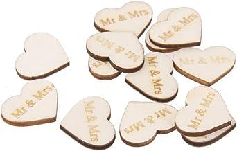 PIXNOR 50Pcs Mr Mrs Wooden Hearts Embellishments Crafts