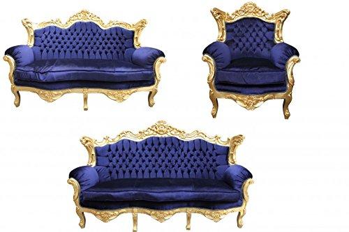 Casa Padrino Barock Wohnzimmer Set Royal Blau/Gold - 3er Sofa+2er Sofa + 1 Sessel