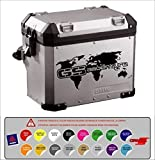 Pegatina Adhesivo Maleta Compatible con BMW R 1200 1150 1100 800 GS Aventure Mapa Mundi Troquelado 16 Colores...