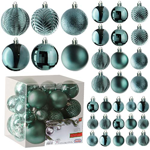 Peacock Green Christmas Ball Ornaments for Christams Decorations - 36 Pieces Xmas Tree Shatterproof Ornaments with Hanging Loop for Holiday and Party Deocation (Combo of 6 Styles in 3 Sizes)
