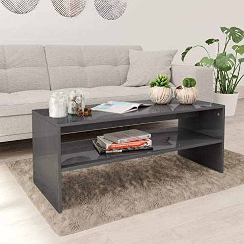 Festnight Coffee Table Living Room End Table with Shelf Modern 100x40x40 cm Chipboard High Gloss Grey