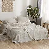 Simple&Opulence 100% Pure Linen Bed Sheet Set Queen 4pcs Luxury Flax Bedding Set Hemstitch Design(Natural Linen)