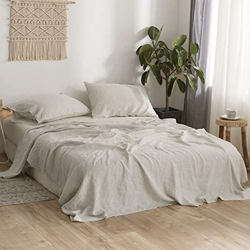 Simple&Opulence Pure Washed Linen Sheet Set Queen-4 Piece French Linen Bed Sheet (1 Flat Sheet, 1 Fitted Sheet,2 Pillowcases) -Breathable Soft Flax Bedding-Natural Linen