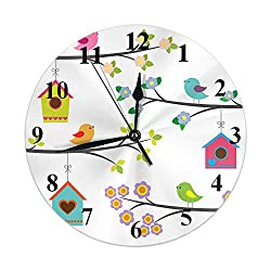 Moslion Bird Clock Colorful Cartoon Birds On Tree Branch House Flower Leaves Round Wall Clock Slient Non Ticking Rustic Home Decor 10 Inch for Kitchen Bathroom Office