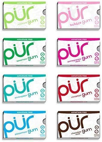 PUR 100% Xylitol Chewing Gum, Sugarless Variety Bulk, Sugar free & Aspartame Free, Keto Friendly Gift - Gourmet Gum, Relieves Dry Mouth - Pure Natural Flavored Candy, 9 Pieces per Pack (Pack of 8)