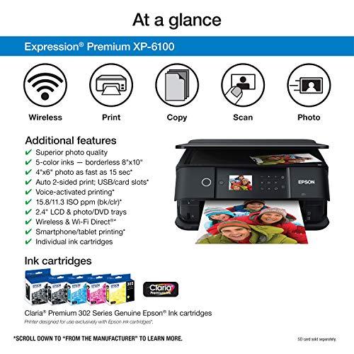 Epson Expression Premium XP-6100 Wireless Color Photo Printer with Scanner and Copier, Black, Medium Photo #3
