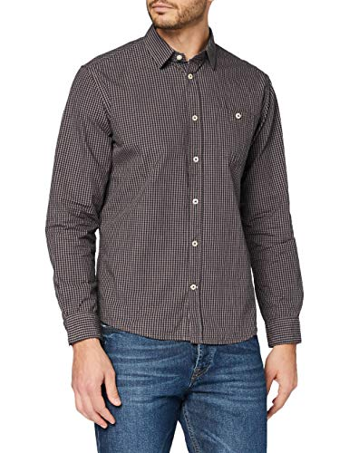 TOM TAILOR Herren Mini Vichy T-Shirt, 24636-navy Brown a fil, M
