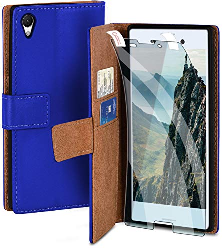 moex Handyhülle für Sony Xperia M4 Aqua - Hülle mit Kartenfach, Geldfach & Ständer, Klapphülle, PU Leder Book Hülle & Schutzfolie - Blau