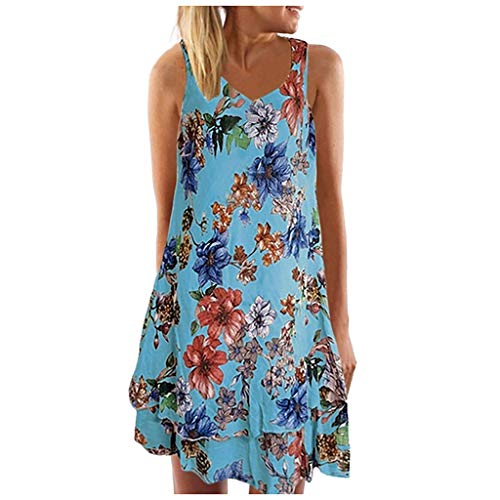 Damen Freizeitkleid, Frauen Sommer V-Ausschnitt äRmelloses BöHmen-Kleid Druck Beach Party Mini-Kleid Vintage A-Linie Minikleid Schwingen Sommerkleid
