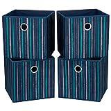 i BKGOO Cajas de almacenamiento plegables con ojales redondos de metal para organizar estanterías, guarderías, armario, 4 unidades, rayas verticales, color azul, 28 x 28 x 28 x 28 cm