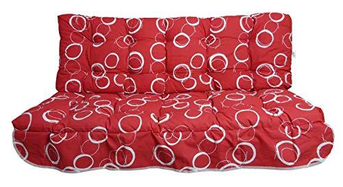 MFG 2-teilige Hollywoodschaukel Auflage Ella, 160 x 50 x 10 cm, rot mit weißen Kreisen