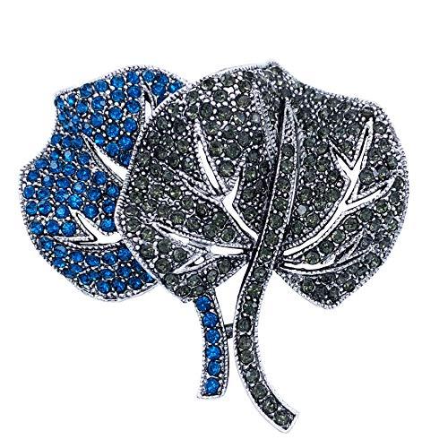 SELOVO 2 Leaf Blue Crystal Brooch Pin Accessory Antiqued Silver Tone