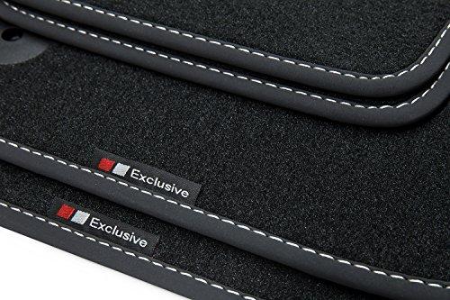 teileplus24 EF812 Fußmatten mit Exclusive-line Design Bandeinfassung und Ziernähten, Naht:Silber