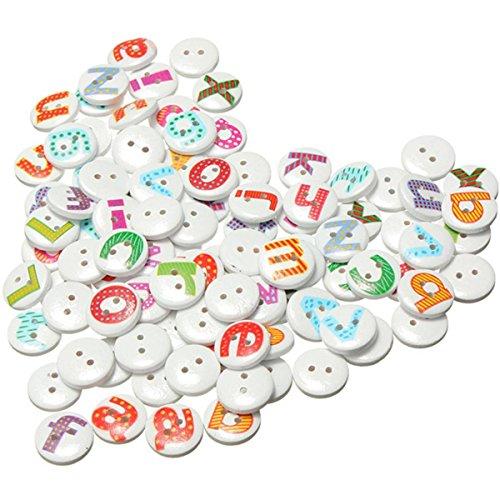 REFURBISHHOUSE 100pzs Boton de Costura de Madera del Alfabeto de la Letra Pintada mezcladaalbum de Recortes