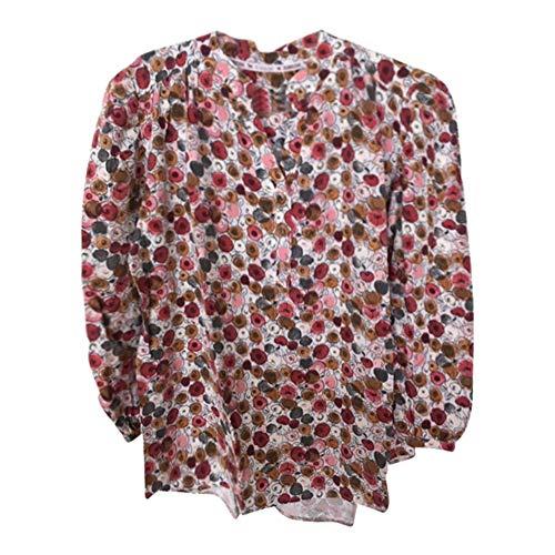 Heimatliebe Damen Bluse mit 3/4 Ärmel und Blumenprint, Farbe:Mehrfarbig, Größe:M