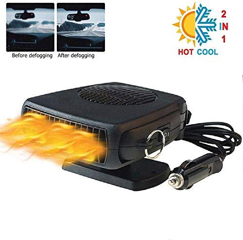 12V Chauffage Voiture Ventilateur, dégivreur de dégivreur de pare-brise lesgos 12V avec 360 ° réglable, 2 en 1 puissant ventilateur de chauffage de voiture