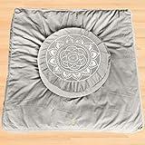 Florensi Meditation Cushion & Zabuton Meditation Mat Bundle- Premium Velvet Meditation Pillow for Women and Men,Washable Cover,Perfect Pair of Buckwheat Meditation Cushion & 100% Cotton Meditation Mat