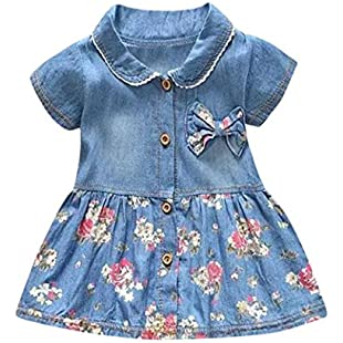 Muium Infant Baby Girls Floral Print Bowknot Short Sleeve Princess Denim Dress Outfits For 0-24 Months (M(Aged 6-12 Months))