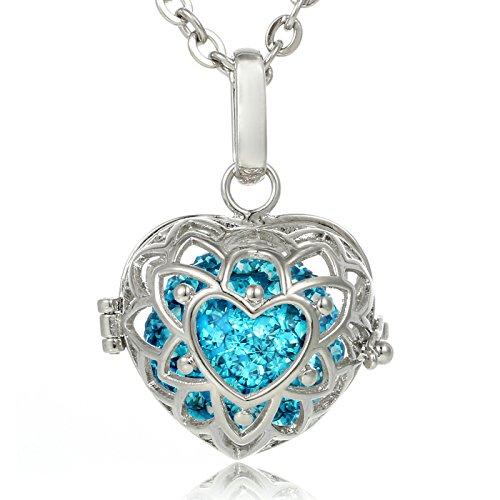Morella® Damen Halskette Edelstahl 70 cm mit Herzform Anhänger und Klangkugel Zirkonia türkis Ø 16 mm in Schmuckbeutel