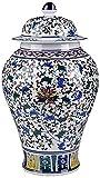 Jarrón chino porcelana antigua China azul rojo oro Jarrón florero florero decorativoTraditional chino jarrón de porcelana cerámica clásico clásico azul y blanco jarrar jarrar florero para la oficina d