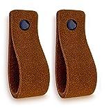 Brute Strength - Tirador de cuero - Coñac - Ante - 2 piezas - 16,5 x 2,5 cm - incluye tres colores de tornillos por manija de cuero para los gabinetes de cocina - baño - gabinetes