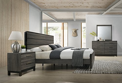 Best Price Roundhill Furniture Ioana 187 Antique Grey Finish Wood Bed Room Set, Queen Size Bed, Dres...