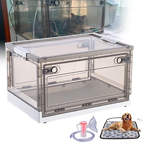 AqGwfcH Corral Portátil Plegable Mascotas, 56L Caja Oxígeno para Mascotas con Manta Eléctrica para Perro Almohadilla Térmica Mascotas, Nido UCI de Oxígeno Dedicado para...