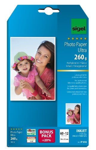 SIGEL IP656 Papier photo professionnel, jet d'encre, ultra brillant, format 10 x 15 cm, 260g/m², 60 feuilles + 12 gratuites