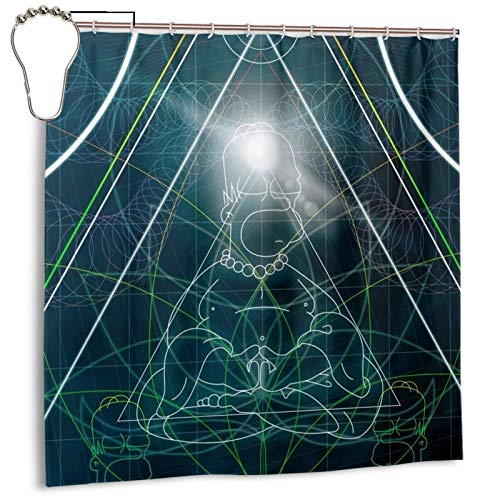 Isabelle & Emilie Futurama Homer Space Buddha with Hooks Shower Curtain Liner Waterproof Shower Curtain 72' W X 72' H,Printed Fabric Home Shower Stall Curtain