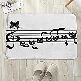 Alfombrilla de baño antideslizante, para baño o ducha,Decoración musical, Notas Gatitos Kitty Cat Obra de notación T, alfombra de suelo absorbente, para sala de estar, sofá, cojín, caucho, 60 x 100 cm
