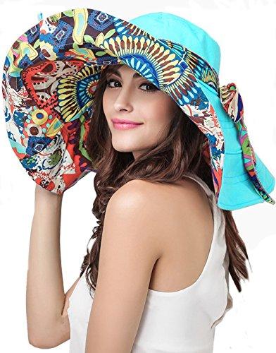 Greenery Women's Sun Protection Hat Reversible Foldable Floppy Wide Brim Beach Travel Sunhat Cap Visor Lace Headband UPF50+ (Sky Blue)