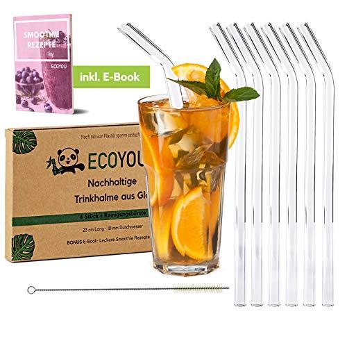 EcoYou® Glas Strohhalme Gebogen 6er Set + Reinigungsbürste aus Sisal & Smoothie Rezepte Wiederverwendbare Trinkhalme 23,00 cm Plastikfreie Straws