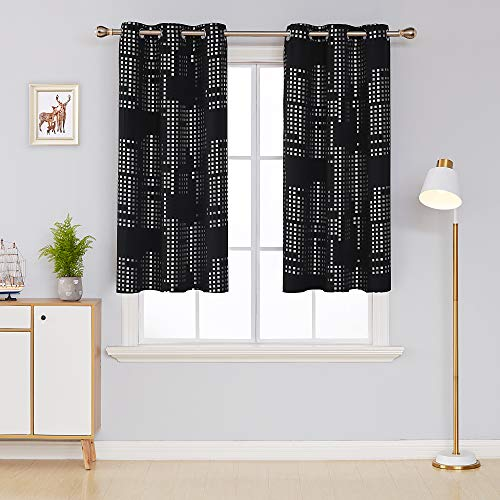 Deconovo Thermal Insulated Blackout Curtains for Bedroom Decorative Square Print Room Darkening Draperies Grommet Window Treatment Panels for Nursery, 38x54 Inch, Black