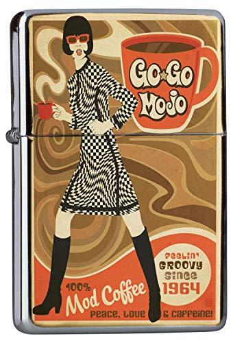 LEotiE SINCE 2004 Chrom Sturm Feuerzeug Benzinfeuerzeug aus Metall Aufladbar Winddicht für Küche Grill Zigaretten Kerzen Bedruckt Wand Küche Gogo Girl Mod Kaffee 1964